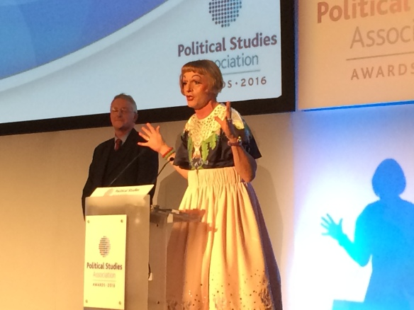 Grayson Perry at the PSA Awards. Hilary Benn MP, who presented the award, is also pictured. (Photo: Ruth Dixon)